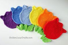 Crochet Pattern Tulip Coaster, Applique, Motif - GoldenLucyCrafts