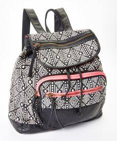 Black & Pink Geometric Backpack
