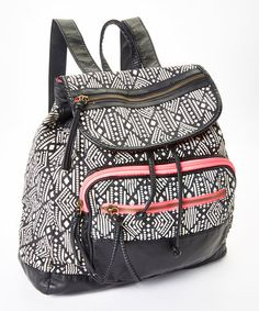 Black & Pink Geometric Backpack #zulily #zulilyfinds