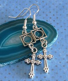 CROSS Charm Fish Hook Earrings Silver Plated by BusyBeeBumbleBeads