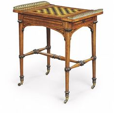 A Regency Brass-mounted ebonised and ebony inlaid Oak Games Table by George Bullock, early 19th century