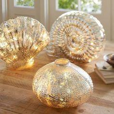 Lit Mercury Glass Shells