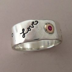 Message of Love Wide Band Ring in 14k Rose Gold Ruby by esdesigns, $130.00