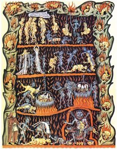 Medieval illustration of Hell in the Hortus Deliciarum manuscript of Herrad of Landsberg (about 1180) Obsessive Compulsive Disorder, Red Books, Holy Mary, Heaven And Hell, Carl Jung, Medieval Art, 12th Century, What Is Tumblr, Dark Ages