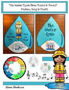 Theres plenty of big vocabulary words to be learned when children study the water cycle.With that in mind, I designed this simple water cycle raindrop craft, which provides a super-fun way to learn the water cycle & practice these new science terms. Water Cycle Song, Water Cycle Poster, Water Cycle Craft, Water Cycle Project, Water Cycle Activities, Science Activities, Water Crafts, Weather Activities, Science Experiments