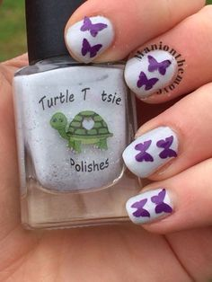 Butterfly Nails using Frosting Frenzy by Turtle Tootsie Polish & Toadarriffic Vinyls