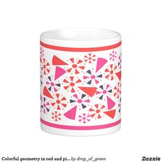 Colorful geometry in red and pink classic white coffee mug