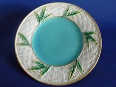 George Jones Majolica 'Bamboo and Wicker' Pattern 3225 Plate c1870