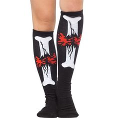 "Break some bones & make 'em bleed! These 17"" socks featuring a bloody broken bone up the front of the leg will intimidate the other team at your next derby match! #socks #style #bones #blood"