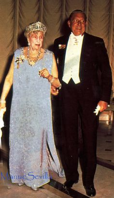 Ena in the Fleur de Lys tiara with her third son, Juan, Count of Barcelona, grandfather of Spain's current king, Felippe.