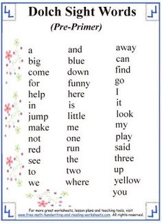 List of all 220 Dolch sight words, broken up into five categories by reading level. Print out your sight words list and then check out the printable sight word worksheets. Pre Primer Sight Words, Sight Words List, Dolch Sight Words, Sight Words Printables, Sight Word Worksheets, Nursery Worksheets, Reading Worksheets, Reading Levels, Reading Skills