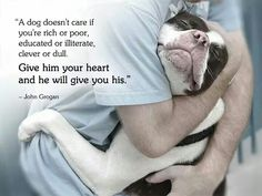 A dog doesn't care if you're rich or poor, educated or illiterate, clever or dull. Give him your heart and he will give you his.....John Grogan