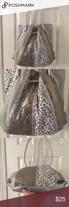 🛍 Daisy Fuentes Silver Studded Snake Shoulder Bag Studded silver tone.  Man made. Daisy Fuentes Bags Shoulder Bags