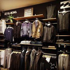Billabong Men's Concept Area @beaches_apparel #billabong #surf #surfwear… Visual merchandising. Retail store display. Men's clothing and accessories.