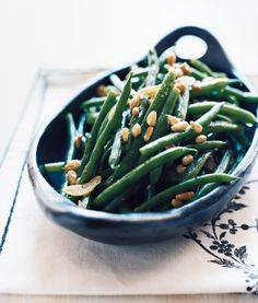 Garlicky Green Beans With Pine Nuts: A delicious recipe! I only cooked the green beans for about 3 minutes so they'd be nice and crunchy. The toasted pine nuts and garlic are a great accompaniment!