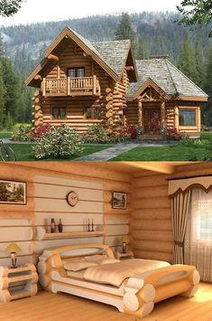 💖 77 extraordinarily beautiful interior and exterior log home designs of 51 Small Log Cabin, Tiny House Cabin, Log Cabin Homes, My House, Log Cabins, Timber House, Wooden House, Cabins In The Woods, House In The Woods