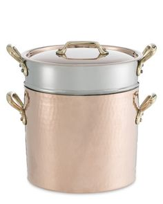 Mauviel 1830 Copper Pasta Pentola with Lid & Insert #williamssonoma