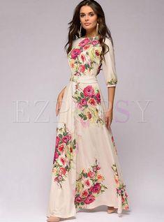 54931c8d4311f Shop Fashion O-neck Lace Sleeve Casual Print Maxi Dress at EZPOPSY.  Discover fashion