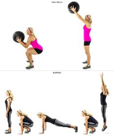 crossfit workout of wall balls and burpees