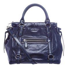 Miu Miu 'Lux' Blue Vitello Leather Tote | Overstock™ Shopping - Big Discounts on Miu Miu Designer Handbags
