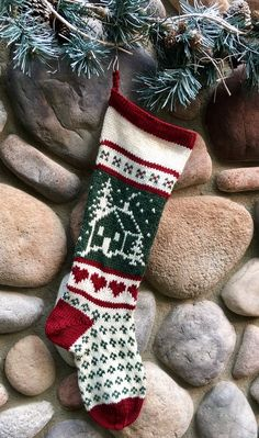 Hand Knit Christmas Cabin Home Is Where The Heart Is - Handmade & Ready to Ship Knitted Christmas Stocking Patterns, Christmas Charts, Knitted Christmas Jumpers, Knitted Christmas Stockings, Knit Stockings, Family Christmas Stockings, Cabin Christmas, Christmas Ornaments, Christmas Decorations