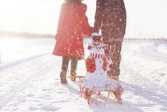 romantic winter photo with the snowman