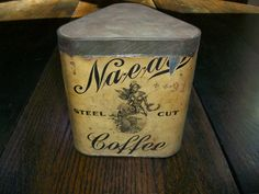 Antique Coffee Tin 1800s Stone Ordean Wells Co by RedRiverAntiques, $48.50