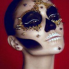 Halloween costume idea: Studded sugar skull make-up