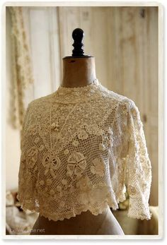 antique Irish crochet lace dress