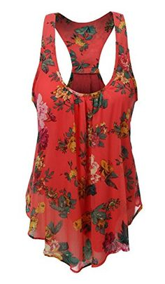 29dba949624 Amazon.com  Uncinba Women s Plus Size Sleeveless Floral Chiffon Vest Tank  Racerback Tops