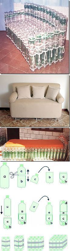DIY recycled plastic bottles made into no budget/ low budget homemade couch! Plastic Bottle Crafts, Diy Bottle, Recycle Plastic Bottles, Plastic Bottle House, Homemade Furniture, Diy Furniture, Homemade Couch, Plastik Recycling, Home Crafts