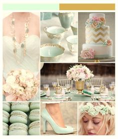 "Decoracion ""mint and gold"" (Color menta y dorado)"