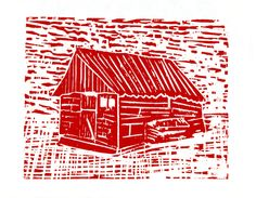 red house woodcut print by Hetrodehuis