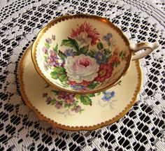 Vintage Royal Stafford Bone China Tea Cup and Saucer, Celebrity, Made in England by EnglishRoseVintageCo on Etsy
