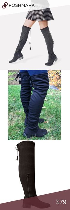 Black Over-The-Knee Tassel Stretchy Boots NWT