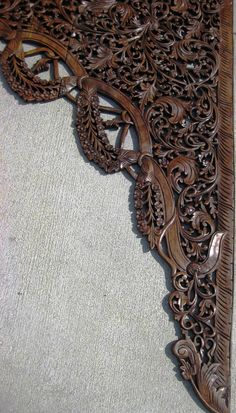 9.5 Ft Hand Carved Teak Wood Arch Doorway Panel Oak Finish