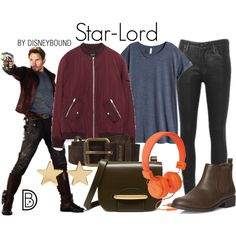 Star-Lord by leslieakay on Polyvore featuring H&M, Citizens of Humanity, Dorothy Perkins, Mulberry, Jennifer Meyer Jewelry, Belstaff, disney, disneybound and disneycharacter