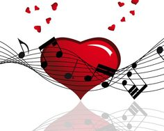 Music notes and hearts