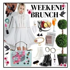 """Brunch"" by velvetmansion ❤ liked on Polyvore featuring For Love & Lemons, Giancarlo Petriglia, Gucci, Forever 21, Improvements, Aman Imports, INIKA, MAC Cosmetics, Jayson Home and Parker"