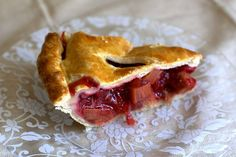 strawberry rhubarb pie - the best pie I've ever made. I let it cool completely and omitted the extra butter in the filling and the egg wash.
