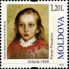 (Art - Portraits of Children - Orphan Girl by Pavel Piscariov) Orphan Girl, Postage Stamp Art, Portrait Art, Portraits, Small Art, Stamp Collecting, Sorting, Fine Art, Prints