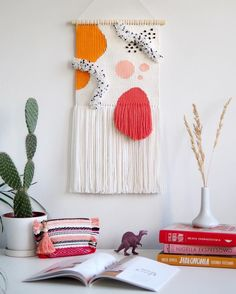 New finished woven wall hanging is on Etsy now✌(link in BIO) . Crochet Wall Hangings, Weaving Wall Hanging, Weaving Art, Tapestry Weaving, Loom Weaving, Wall Tapestry, Weaving Textiles, Weaving Patterns, Quilt Patterns
