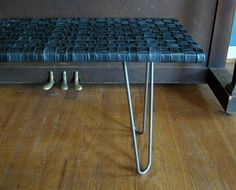 Items similar to Retread Bench - Recycled Bicycle Tubes & Raw Steel Hairpin Legs on Etsy Tire Furniture, Recycled Furniture, Handmade Furniture, Furniture Making, Automotive Furniture, Automotive Decor, Furniture Design, Pimp Your Bike, Recycled Bike Parts