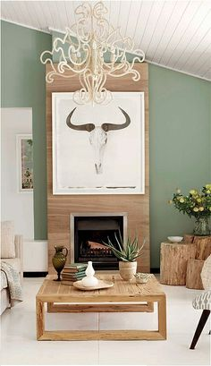 Plascon Spaces - Home This is what our cieling looks like - if we get floors this color will be perfect paint color Green Accent Walls, Accent Wall Colors, Wall Colours, Wooden Accent Wall, Accent Wall Bedroom, Plascon Paint Colours, Cozy Basement, Lexington Home, Living Room With Fireplace