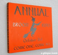 "A Glimpse Inside: ""Annual Broom Rides"" Halloween Sign"