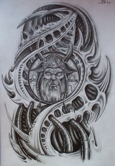 Drawing Unique finished viking biomech by karlinoboy - Head Tattoos, Body Art Tattoos, Tattoo Drawings, Sketch Tattoo, 3d Drawings, Celtic Tattoos, Viking Tattoos, Tattoo Sleeve Designs, Sleeve Tattoos