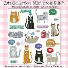 Cats Collection mini cross stitch pattern consists of 10 cats with witty sayings. Stitch them individually or create your own cat sampler.