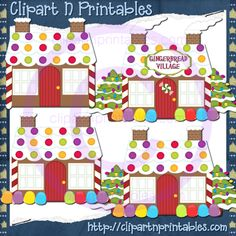 Gingerbread Houses 13- #Clipart #ResellableClipart #ResellerClipart #Christmas #Gingerbread #Houses #Candy #ChristmasTrees #Village #Ornaments