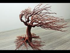 Autumn Wind Blow Wire Tree: Materials:Copper Wire 22 gauge metre)Cooking pot or any thing having diameter of 33 cm.Wool gloves (just to protect the hand from harshness). Wire Art Sculpture, Tree Sculpture, How To Make Trees, Copper Wire Art, Bonsai Wire, Wire Trees, Wire Crafts, Decor Crafts, Wire Weaving