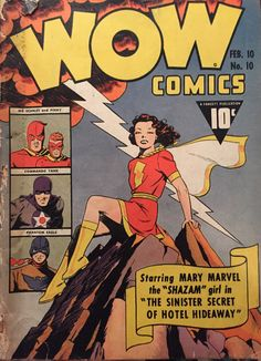 Wow Comics No with Mary Marvel Comix Book Movie Arte Dc Comics, Old Comics, Marvel Comics, Original Captain Marvel, Captain Marvel Shazam, Comic Book Artists, Comic Books Art, Comic Art, Vintage Comic Books